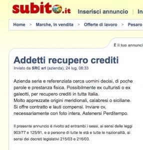 Cercasi ex galeotti per recupero crediti for Subito offerte di lavoro roma