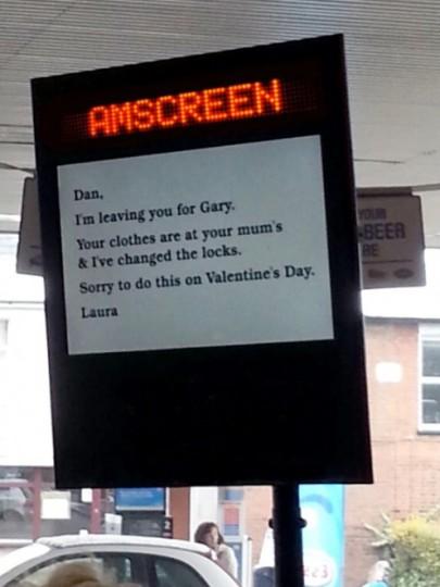 Messaggio addio a San Valentino