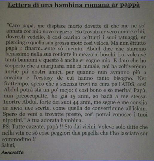 Lettera di una bambina romana