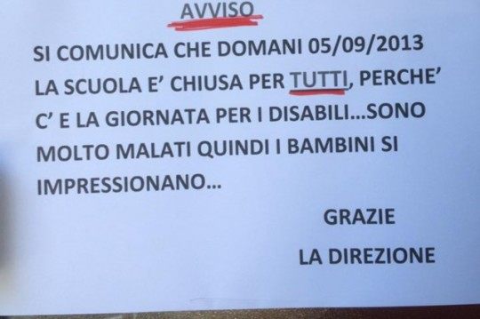 Cartello disabili