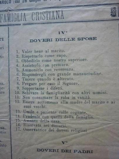 Doveri spose religione Cristiana