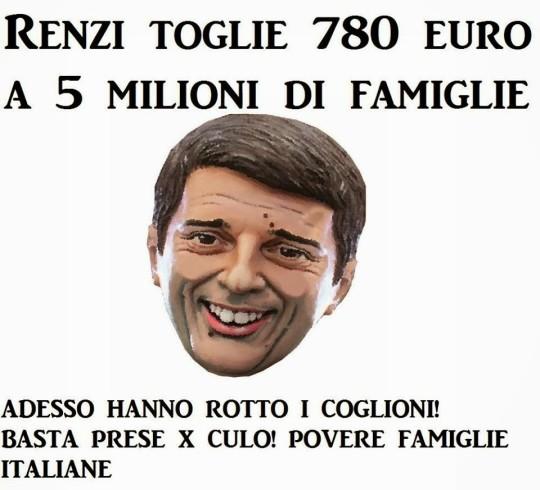 Renzi toglie 780 euro