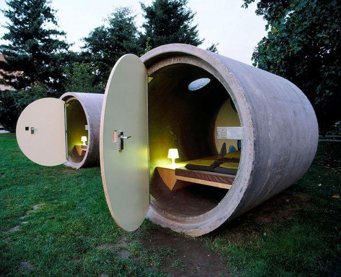 Casetta ricavata dai tubi di cemento