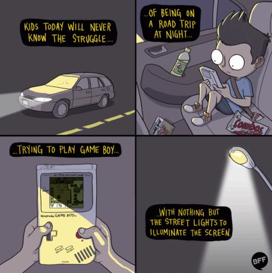 I viaggi in macchina erano il momento ideale per giocare con il Gameboy.