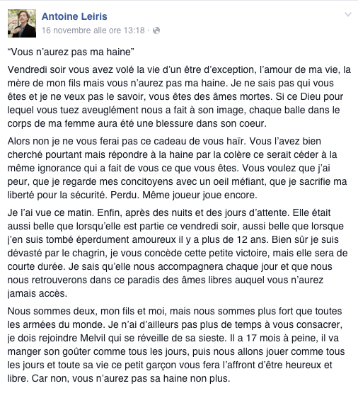 Lettera Attentatori Parigi