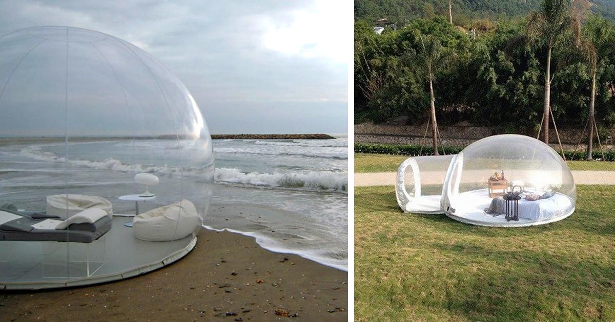 La tenda trasparente a forma di bolla per dormire sotto le stelle