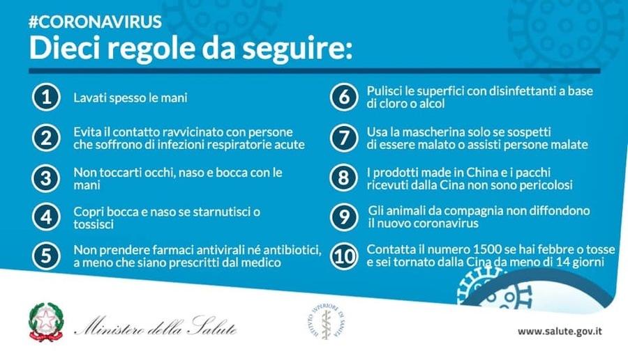 Regole prevenzione coronavirus